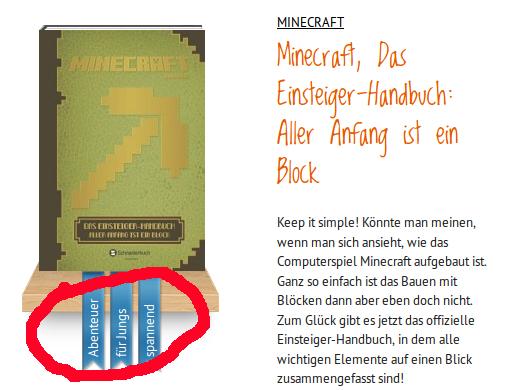 Pixelklötzchen nur für Jungs?! – enttäuschende Minecraft-Bücher