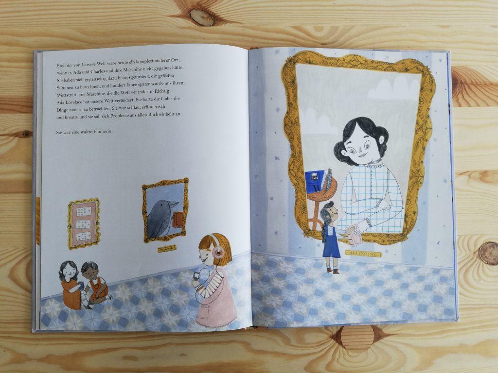 """© Illustrationen von Rachel Katstaller aus """"Ada und die Zahlen-Knack-Maschine: Das außergewöhnliche Leben der Ada Lovelace"""", NordSüd 2019."""